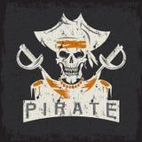 Skull captain pirate in hat  swords grunge vector design tem Royalty Free Stock Images