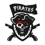 Skull of captain of pirates. Logo, emblem. Skull of captain of pirates, flag and weapon. Logo, emblem stock illustration