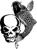 Skull and carp, Royalty Free Stock Image