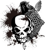 The skull and a carp and paint Stock Image