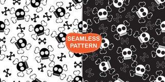 Skull cartoon Halloween pattern Stock Images
