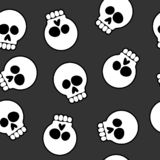 Skull Cartoon Seamless Pattern Background Vector Illustration. Very cool and fun skulls cartoons, black, white and gray tones, sharp and seamless repeating vector illustration