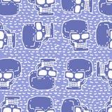 Skull cartoon seamless pattern. Skeleton head drawing ornament.
