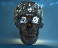 Skull with carved pattern on blue gradient. Background with lights Royalty Free Stock Photo