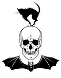 Skull, cat and bat Stock Photo