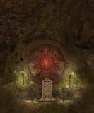 Skull cave crypt. 3D rendered dark skull  cave crypt illustration Stock Photos