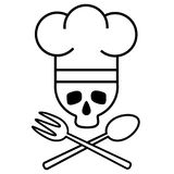Skull chef in chef s hat with crossed spoon and fork. Logo, icon. Black-and-white drawing. Vector Image. Royalty Free Stock Images