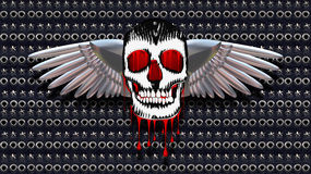 Skull with chromed wings on leather Stock Photography