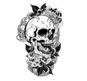 Skull with chrysanthemum tattoo by hand drawing. stock illustration