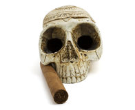 Skull and cigar Stock Photo
