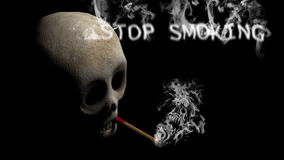 Skull and Cigar with Stop Smoking text Stock Photos