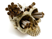Skull and cigarettes Stock Photos