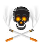Skull with cigarettes - danger of smoking Stock Photo