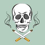 Skull and cigarettes. Smoking kills concept. Retro cartoon style. Vector illustration. Stock Image