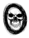 Skull in circle. This is my hand drawing , design for Halloween day Royalty Free Stock Photography