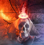 Skull with cloth and fire. Stock Photos