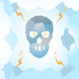Skull Clouds. Vector illustration of Clouds making a Skull shape with clouds background with the lightning thunder Stock Images
