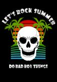 Skull Coconut tree Beach Summer Let`s rock do bad boy thing vector illustration