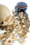 Skull and coin. Human skull and purse with coin Royalty Free Stock Image
