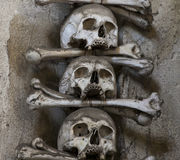 Skull. The collection of bones in the Ossuary Royalty Free Stock Photos