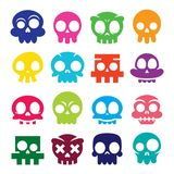 Halloween  cartoon skull icons, Mexican cute sugar skulls design set, Dia de los Muertos Royalty Free Stock Image