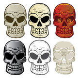 Skull Collection. Various styles of skulls including flames and chrome Stock Images