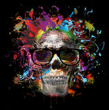 Skull. On colored  creative background Stock Photo