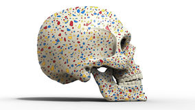 Skull with colorful flakes Stock Images