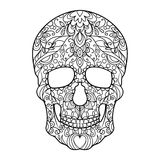 Skull coloring book for adults vector Royalty Free Stock Photos