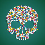 Skull is composed of pills and tablets. Stock  flat graphi Royalty Free Stock Image