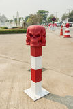 Skull Conceptual sculpture ,Road bollard traffic lane ,Thailand Stock Photography
