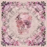 The skull consists of flowers with kaleidoscope of butterfly vector illustration
