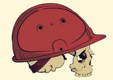 Skull in a construction helmet. Skull in profile in red plastic construction helmet Stock Image