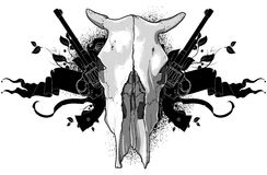 Skull cow and guns Royalty Free Stock Image