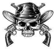 Skull Cowboy and Guns. Cowboy skull in a western hat and a pair of crossed gun revolver handgun six shooter pistols drawn in a vintage retro woodcut etched or vector illustration