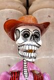 Skull in cowboy hat. Skeleton wearing a brown cowboy hat Royalty Free Stock Image
