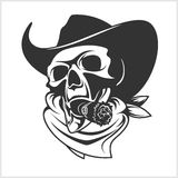 Skull In Cowboy Hat And Cigar Royalty Free Stock Photography