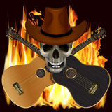 Skull in a cowboy hat with crossed guitars Stock Photography