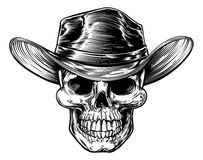 Skull Cowboy Hat Drawing Stock Images