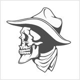 Skull in cowboy hat - gangster Stock Photo