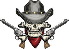 Skull in cowboy hat. Illustration with skull in cowboy hat and handkerchief against two revolvers drawn in tattoo sketch style stock illustration