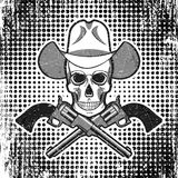 Skull in cowboy hat with revolvers, grunge vintage polka dot background. Stock Photography