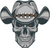Skull cowboy. Vector illustration, skull in a cowboy hat stock illustration