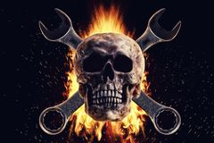 Skull and crescent wrench in fire on a black background. Photo manipulation artwork, 3D rendering vector illustration