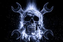 Skull and crescent wrench in fire on a black background. Photo manipulation artwork, 3D rendering stock illustration