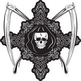 Skull in cross. Vector image of  human skull in cross and plaits Royalty Free Stock Images