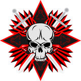Skull with cross. Vector image of human skull with cross Royalty Free Stock Photo