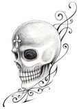 Skull cross art tattoo. Royalty Free Stock Image