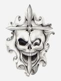 Skull cross art tattoo. Art design skull head and cross mix tribal tattoo hand pencil drawing on paper Royalty Free Stock Images