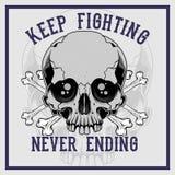Skull cross bone keep fighting never ending hand drawing vector vector illustration